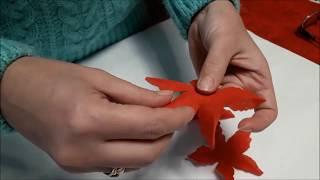 Украшение для новогоднего стола Пуансеттия своими руками