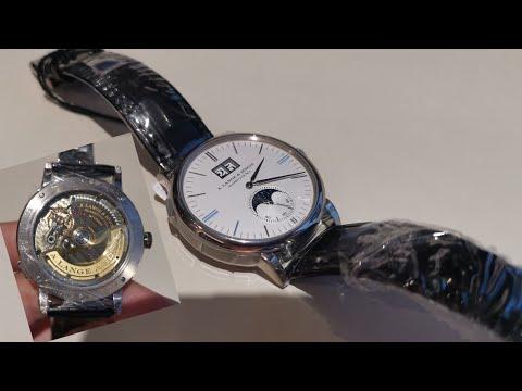 朗格 A.Lange \u0026 Sohne Saxonia Moonphase 月相+大日期 18K白金   几时都适合收藏的品牌 这就是所谓的背面还比正面优秀!