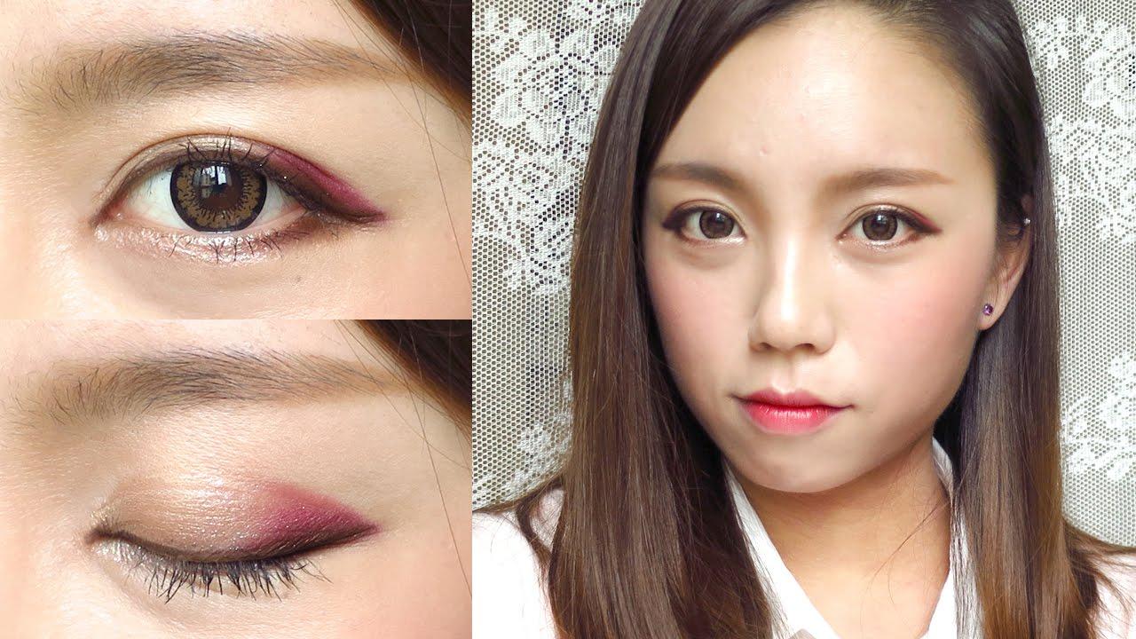 Korean ulzzang style burgundy makeup tutorial youtube ccuart Images