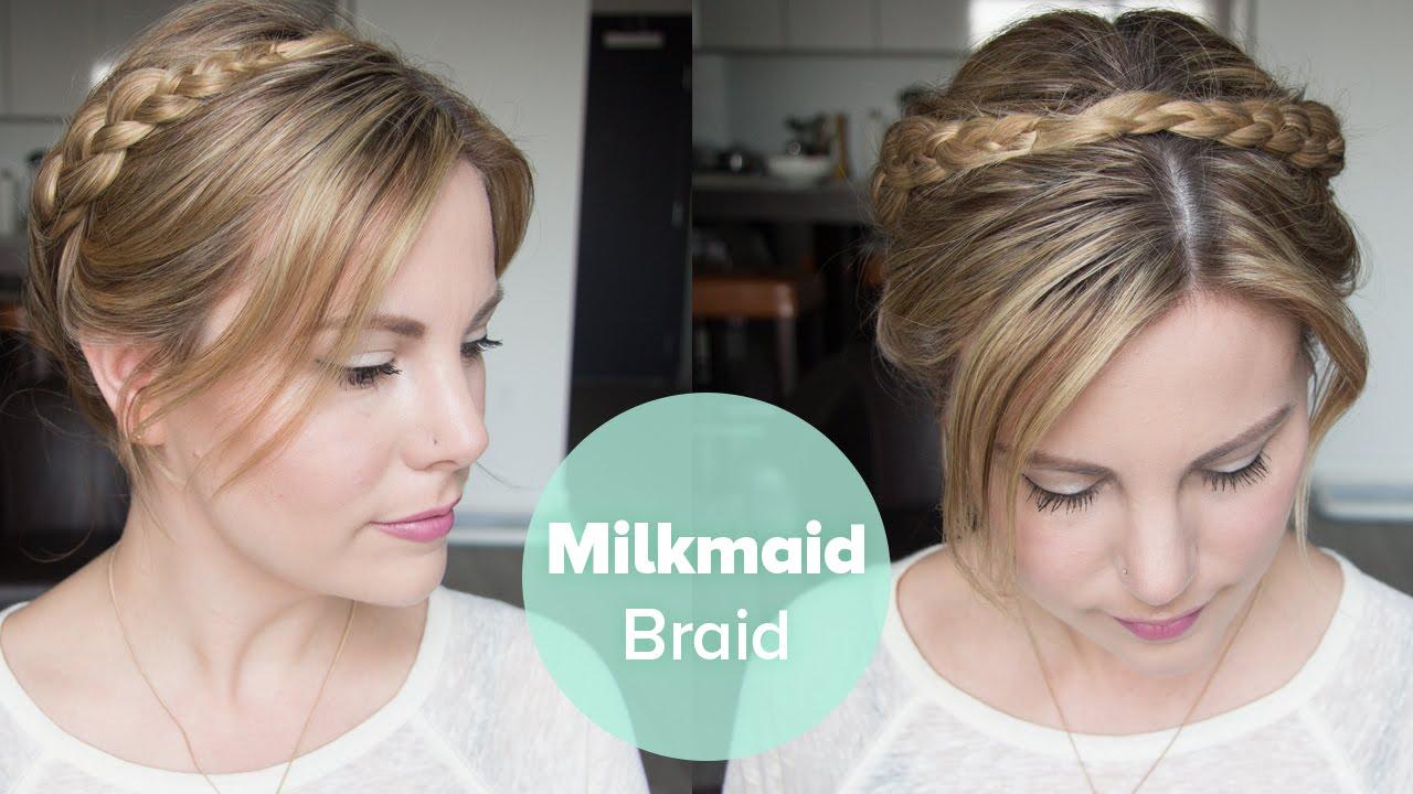 Tutorial: Milkmaid Braid for Short Hair - YouTube