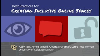 Webinar: Best Practices for Creating Inclusive Online Spaces