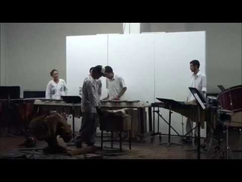 Collaboration of chainsaw, marimba and percussion instrument