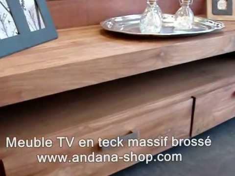 Meuble tv 180 cm en teck massif bross youtube for Meuble tv alu brosse