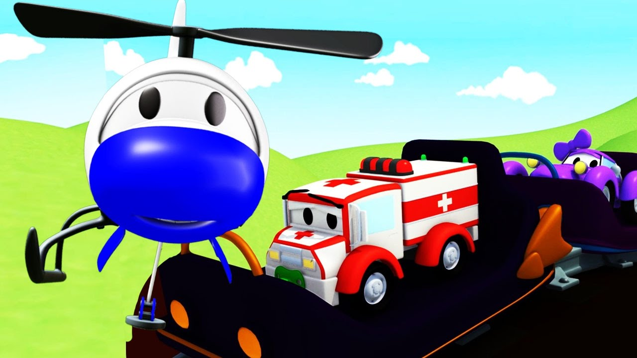 the-car-patrol-fire-truck-and-police-car-in-the-roller-coaster-danger-in-car-city-cars-cartoon