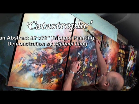 """Painting """"Catastrophe"""" Triptych Simple, Fun, How to Abstract Demo"""