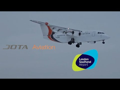 JOTA Aviation RJ-85 G-JOTR Arrival At London Southend Airport