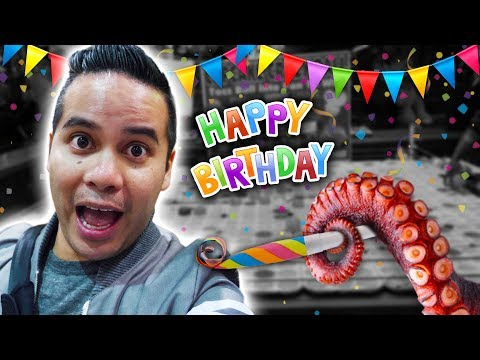 Birthday carnival game challenge at the San Diego County Fair! With deep-fried OCTOPUS!