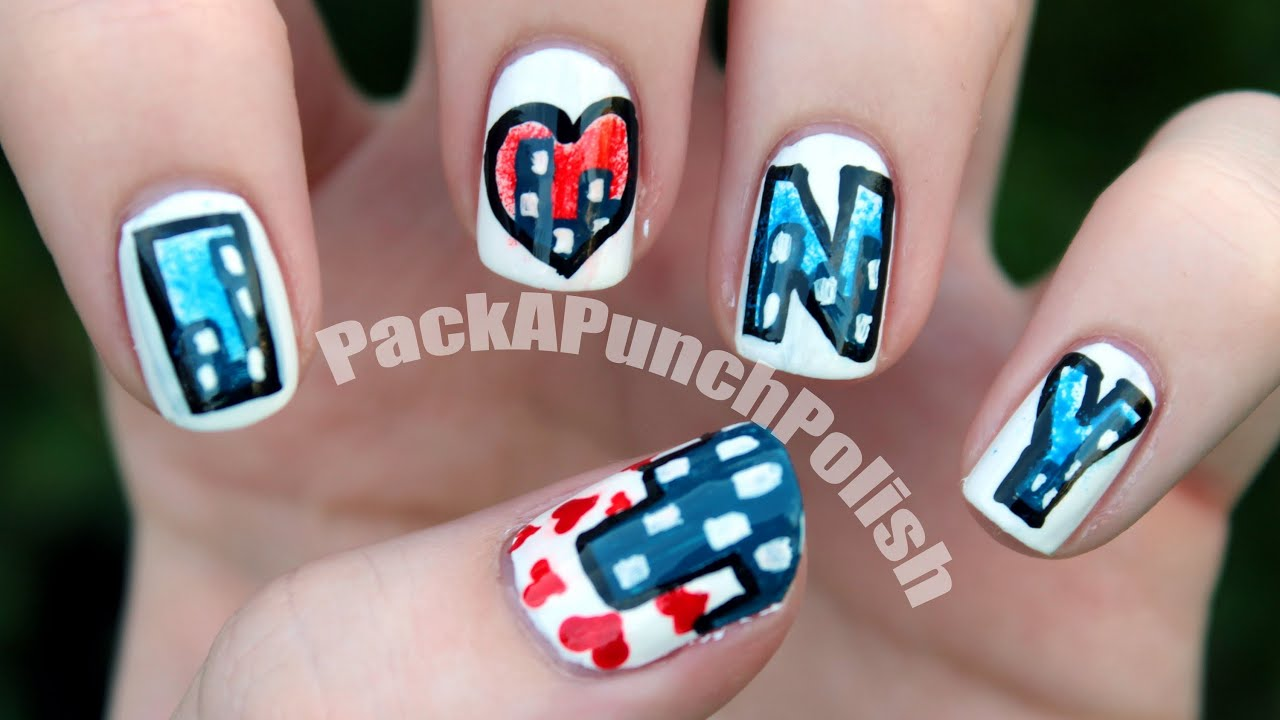 I Heart New York Nails : Nail Art Tutorial - YouTube