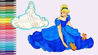 Learn Colors Coloring Cinderella Disney princess Twinkle Little Star Nursery rhymes Learning video