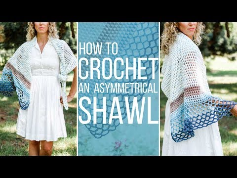 How to Crochet an Easy Asymmetrical Triangle Shawl - Free Pattern!