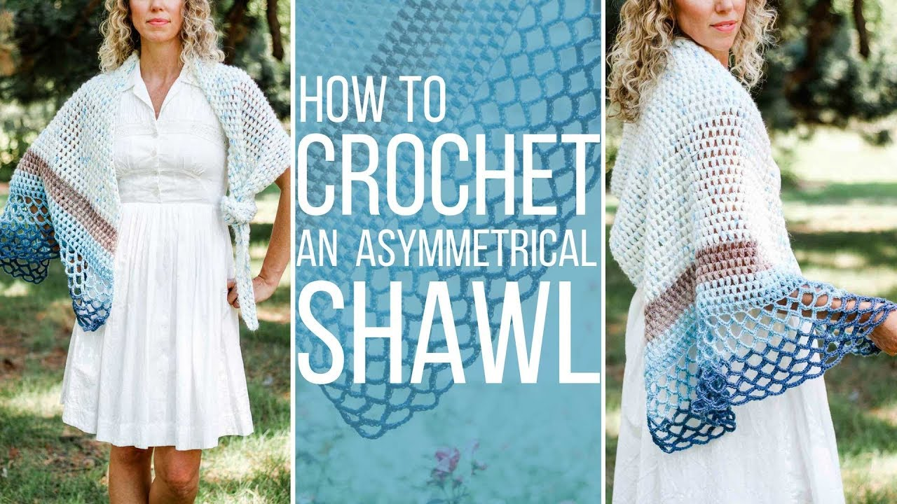 How To Crochet An Easy Asymmetrical Triangle Shawl Free Pattern