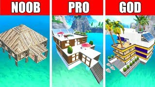 Fortnite NOOB vs PRO vs GOD: MODERN HOUSE ON WATER BUILD CHALLENGE