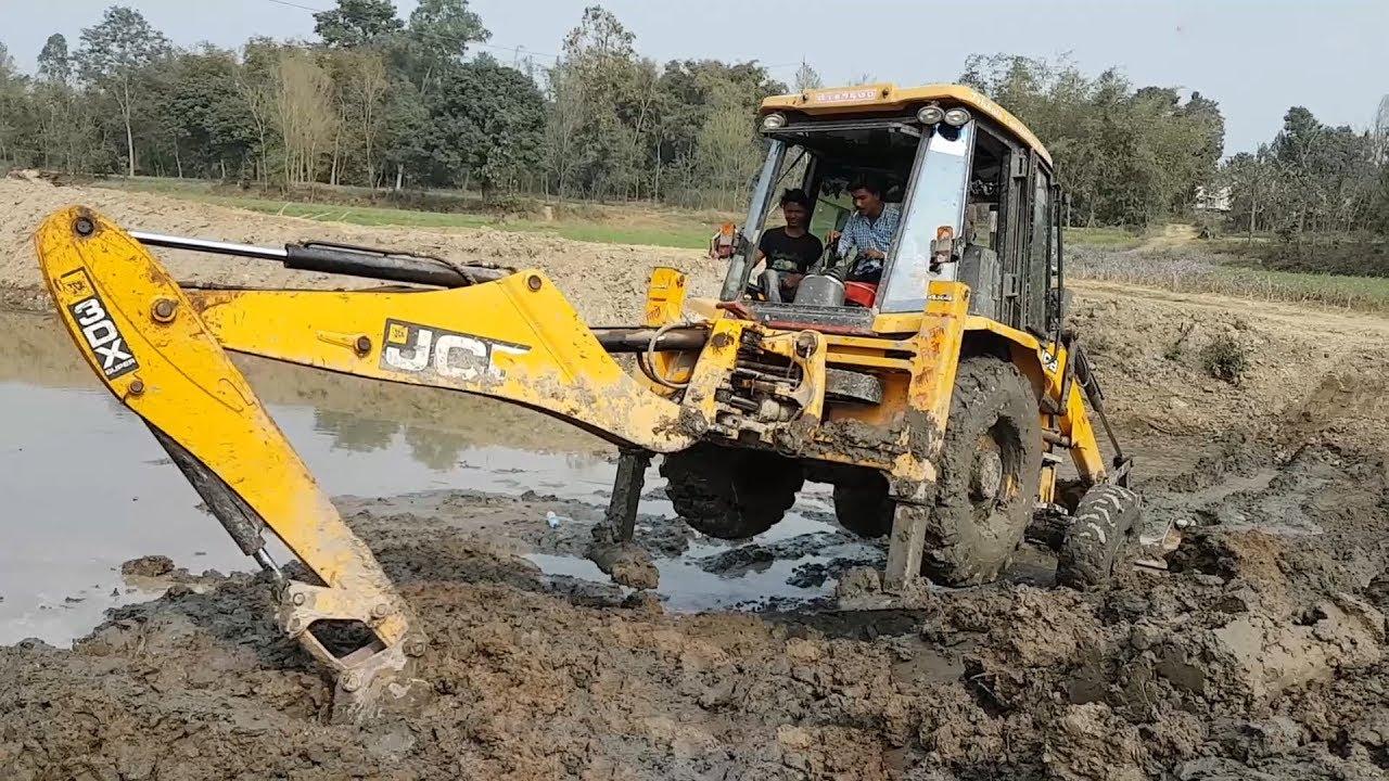 Amazing !! JCB Backhoe Driving in Pond by Skilled Backhoe Operator - JCB  Stuck in Mud - Dozer Video