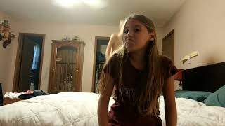 Funny gymnastics on the bed