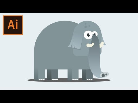 Flat Design Elephant tutorial in Illustrator thumbnail