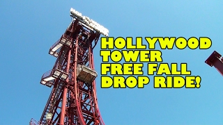 Hollywood Tower Free Fall Drop Ride POV Movieland Studios Italy