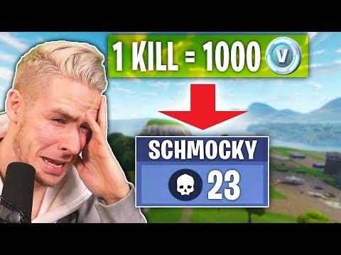 Ein KILL in FORTNITE = 1.000 V-BUCKS zahlen! Mit Schmockyyyy!