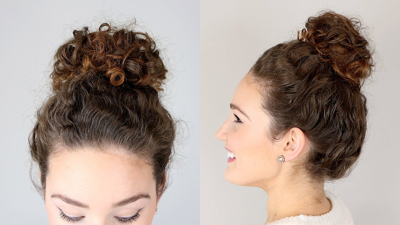 Easy Messy Bun Hairstyle For Natural Curls Youtube