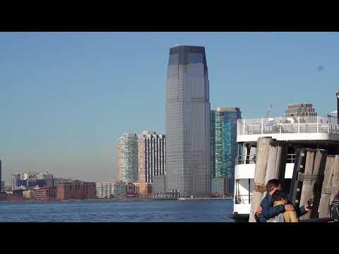 Jersey City Skyline viewed from Battery Park filmed on Friday November 24 2017