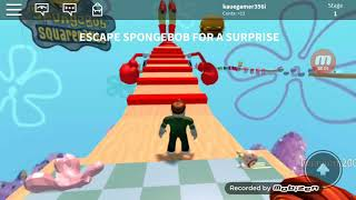 Playing sponge Bob parkour at Roblox