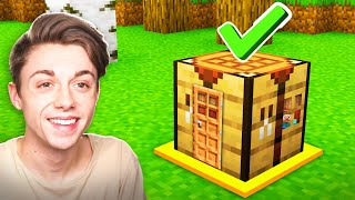 Building a Minecraft House INSIDE a CRAFTING TABLE! (WORKING)