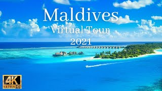 Maldives travel drone 4k video with relaxing music 3 hours | Maldives virtual travel 2021