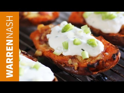 Sweet Potato Skins Recipe Loaded with Cheese & Bacon Recipes by Warren Nash