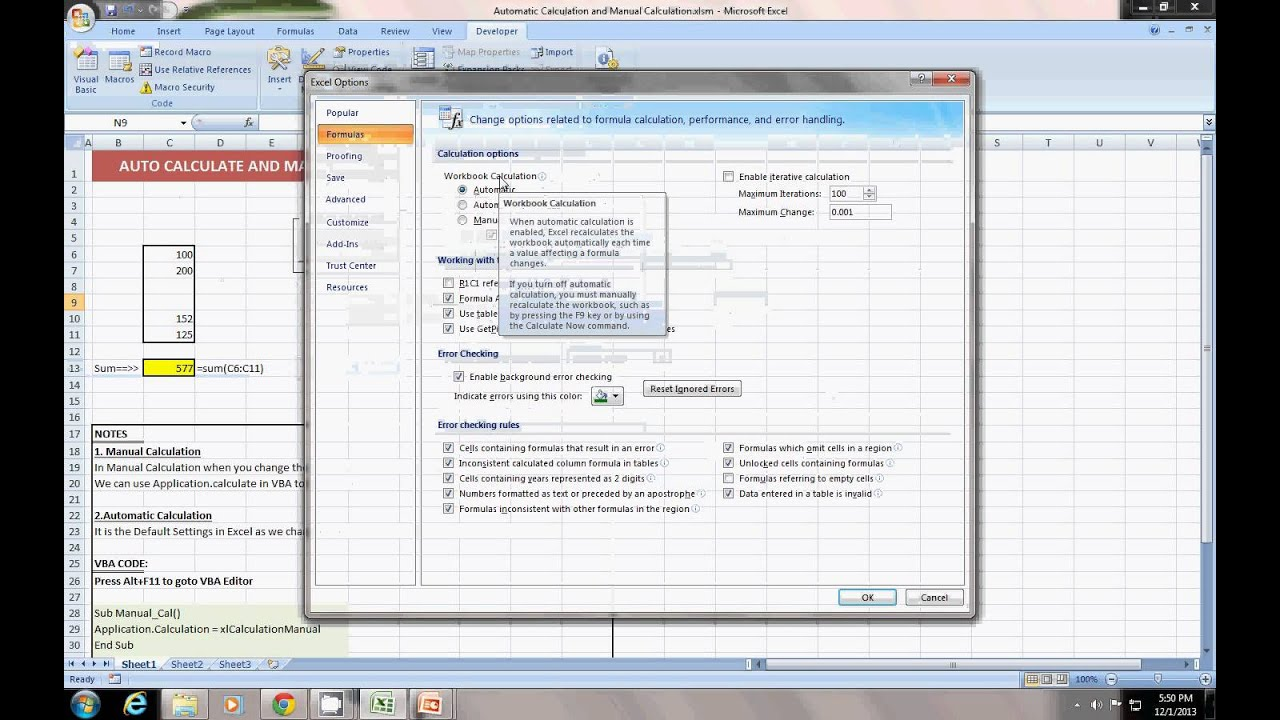 Controlling Excel 2007 Formula Calculations Manually  dummies
