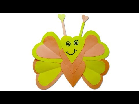 How to make a paper butterfly - DIY paper heart crafts