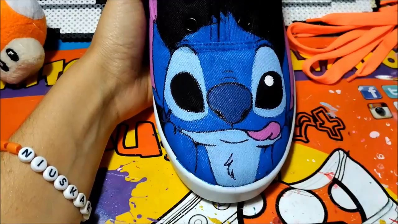 f31309cf3c133c STITCH custom shoes by NiuskArt - Speedpaint DIY - YouTube