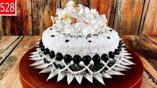 black cake decorate art - bánh sinh nhật màu đen và ngọc (528)