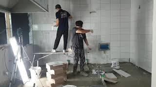 250×400 식당 주방 벽 막타일 붙이기 식당주방 타…