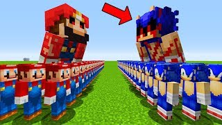 Hello Neighbor Mod TOY STORY 4 FORKY FINDING SONIC vs MARIO SECRET BASE MOB BATTLE in minecraft PE