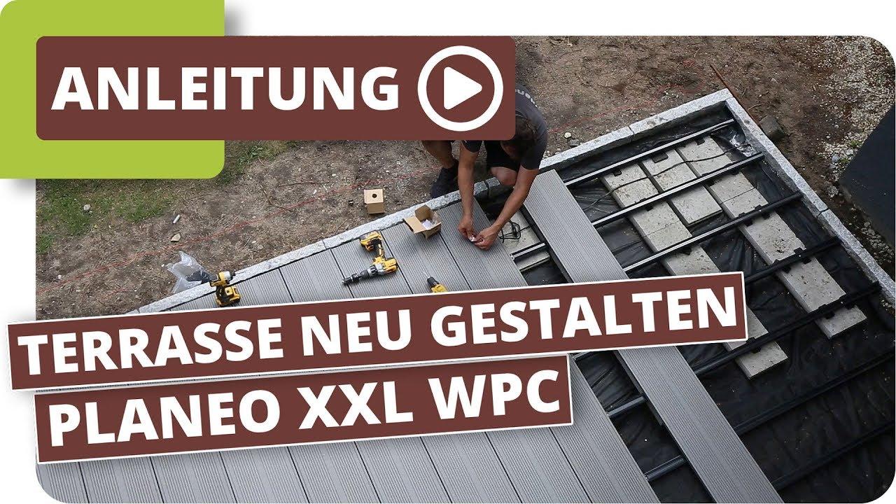 Gepflasterte Terrasse neu gestalten mit planeo XXL WPC Dielen - YouTube