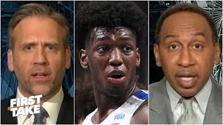 Stephen A. & Max react to the Warriors drafting James Wiseman No. 2 overall | First Take