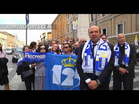 Pope Francis blesses Spain's oldest soccer team