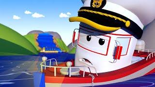 Авто Патруль -  Лодка БОББИ и ВОДОПАД - Автомобильный Город  🚓 🚒 детский мультфильм