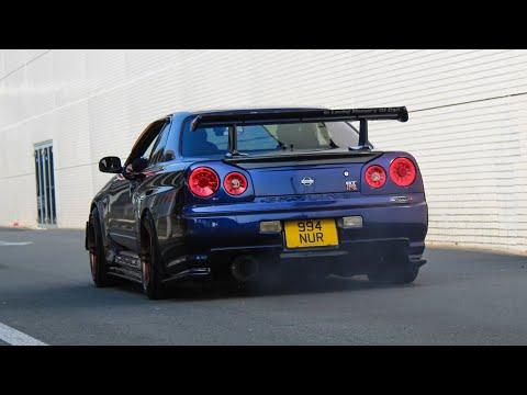 Nissan Skyline R34 Sound Compilation | Slides , Flames , Accelerations , ...