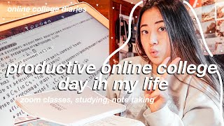 productive & BUSY online college day in my life as a freshman | zoom classes, studying, etc