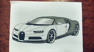#20 How to draw Hyper car   Bugatti Chiron  Step by step easily 😊