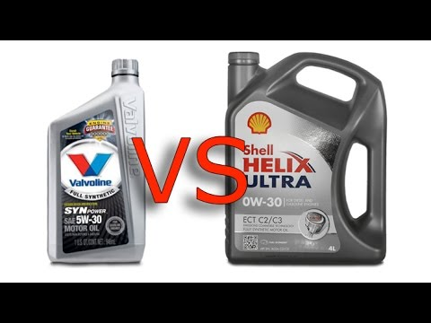 Valvoline Synpower 5W30 vs Shell Helix Ultra 0W30 cold synthetic oil test -24°C