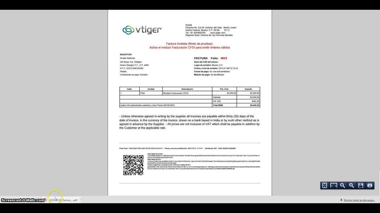 factura en formato pdf y xml en facturación cfdi para vtiger youtube