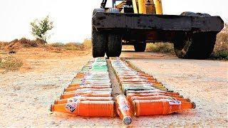 100 Glass Bottles VS Large Crane Tyre | 100 बोतलों पर चढ़ाई क्रेन | Pepsi, Fanta etc.