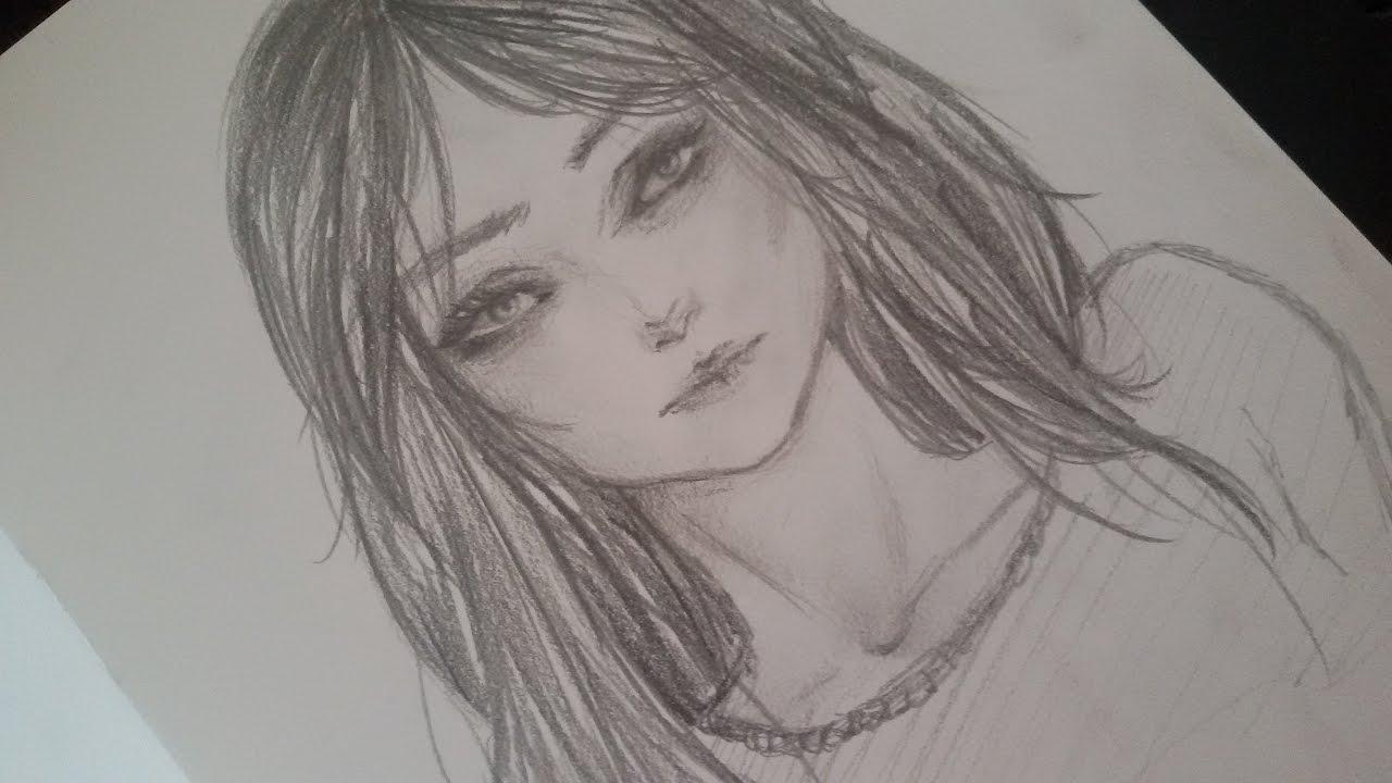 semi realistic girl speed drawing youtube
