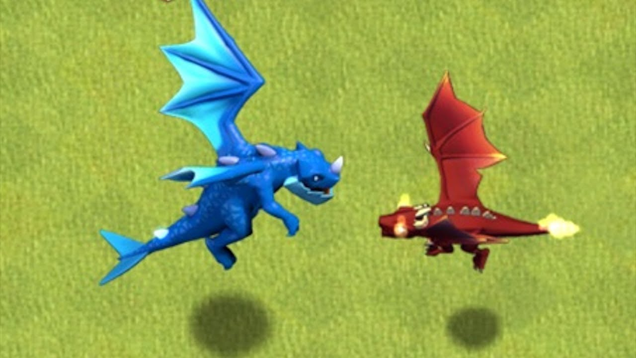 "E DRAGON Vs. UPGRADED LvL 7 DRAGON!! ""Clash Of Clans"" RED vs. BLUE!!"