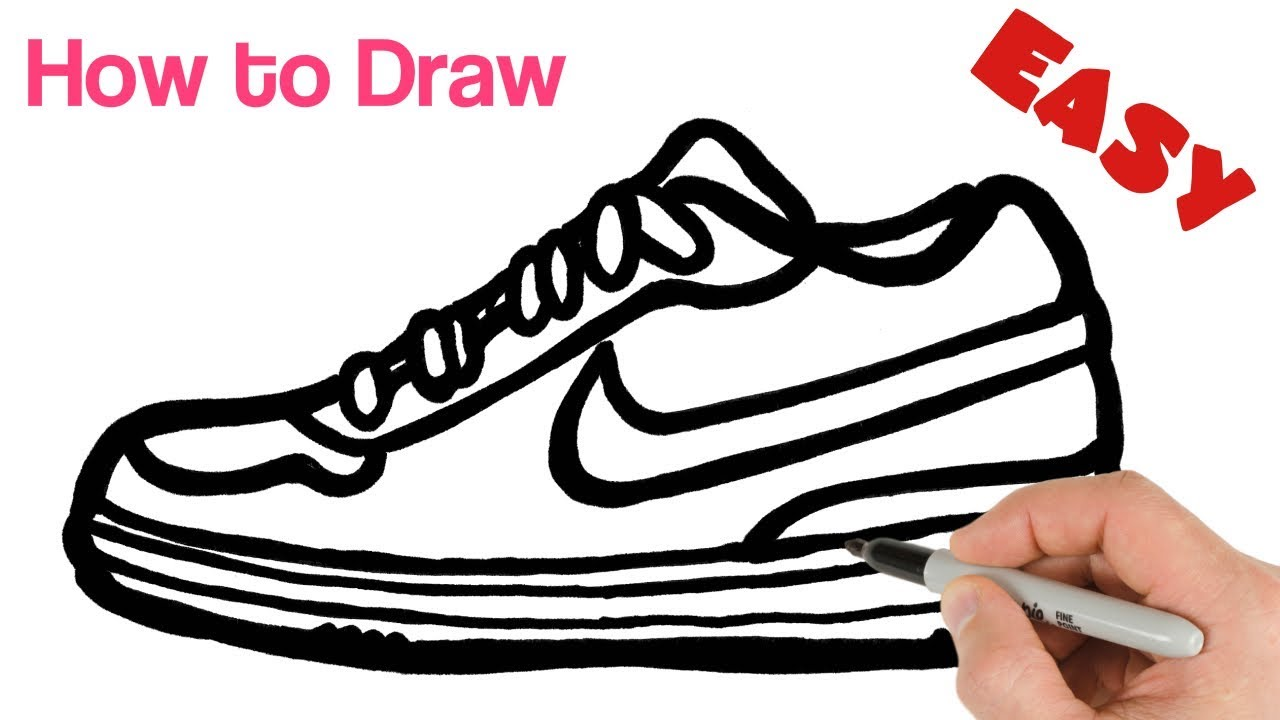 How To Draw Nike Sneakers Shoes Easy Art Tutorial Youtube