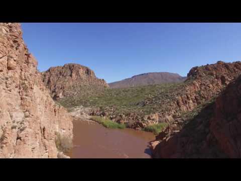 Aerial: Upper Salt River near Roosevelt, Arizona
