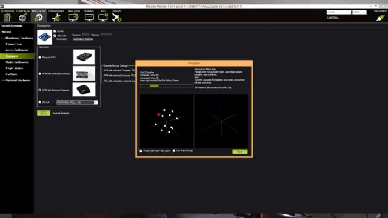 APM PIXHAWK Compass Calibration