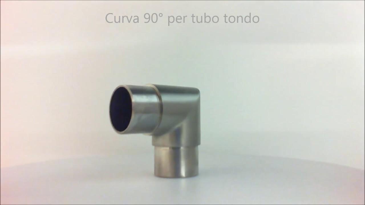 Parapetti Per Scale Interne curva 90° in acciaio inox con spigolo - 62326
