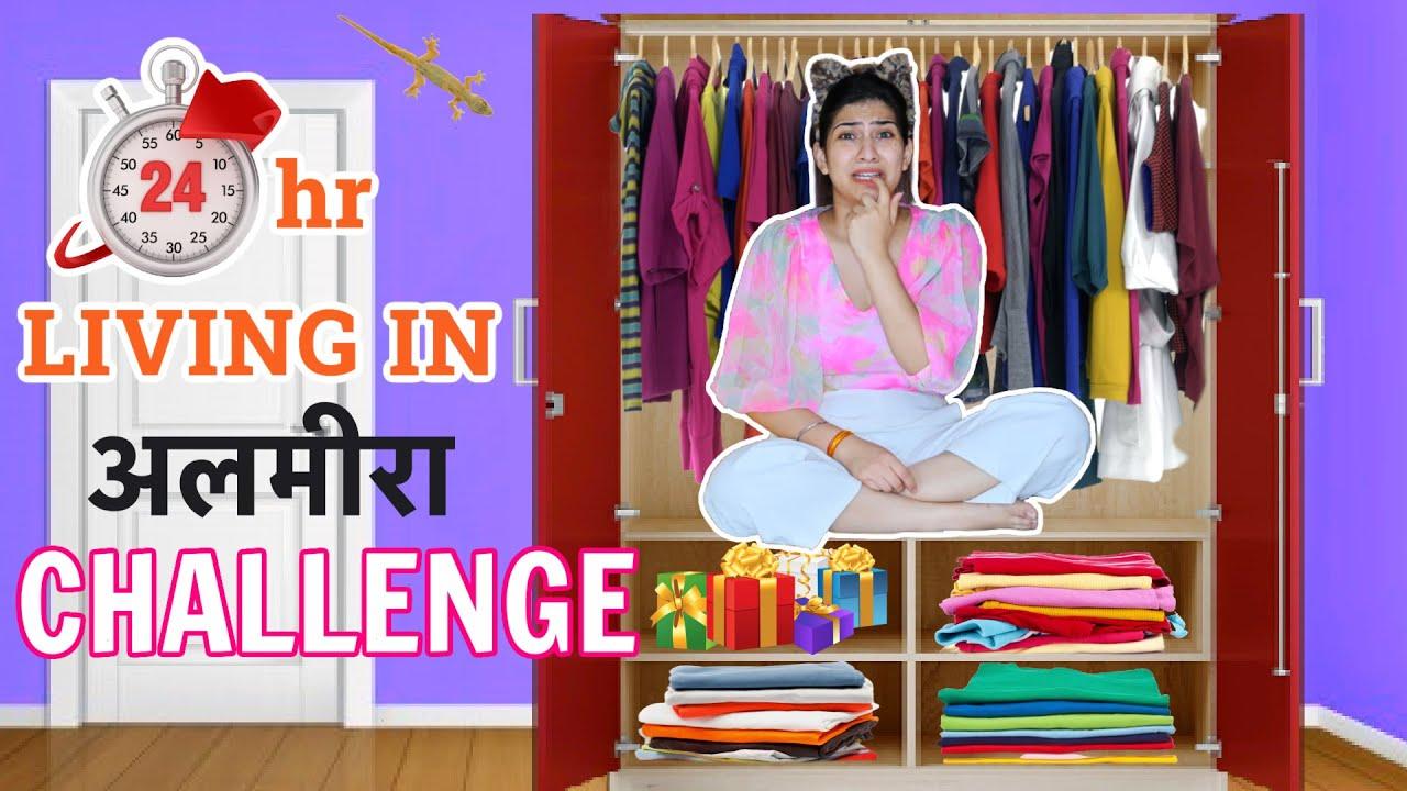 Living in my ALMIRAH  for 24 Hours!!! Somebody Help Me 😰  | Anishka Khantwaal |
